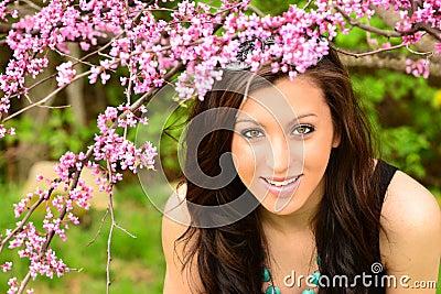 Girl in Spring flowers