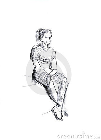 Girl squatting on criminal