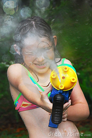Girl with squirt gun