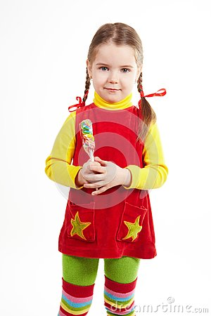 Girl stand with candy 2