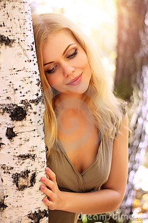 Free Girl Standing At The Birch Royalty Free Stock Photos - 16159648