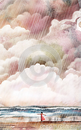 Girl standing near the sea in storm illustration