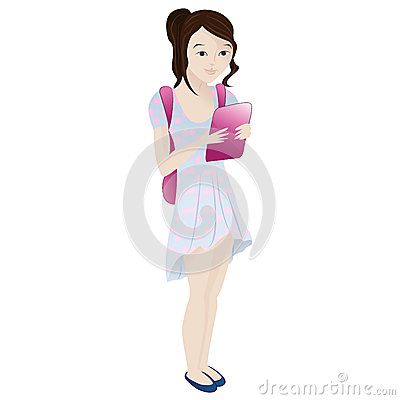 Girl standing smiling and reading