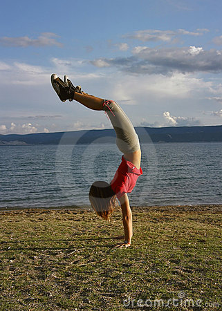 Girl standing upside down 2