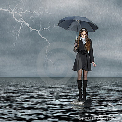 Girl standing on water