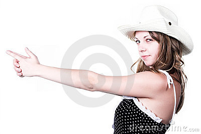 Girl in stetson with gun shooted