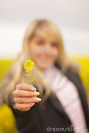 Girl stretches yellow flower