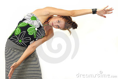 Girl stretching arms isolated