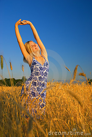 Free Girl Stretching In The Field Stock Images - 2942004