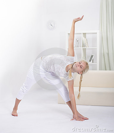 Girl stretching  muscles