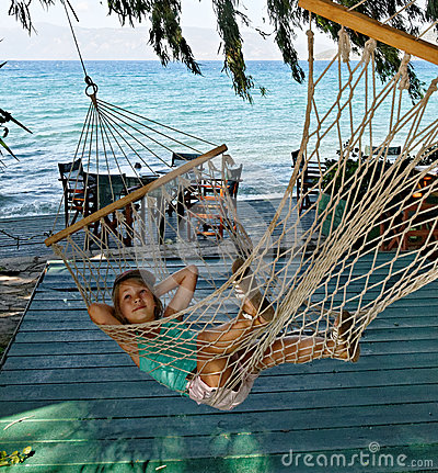 Girl in string hammock