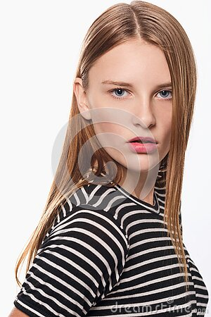 Girl With Striped Shirt Free Public Domain Cc0 Image