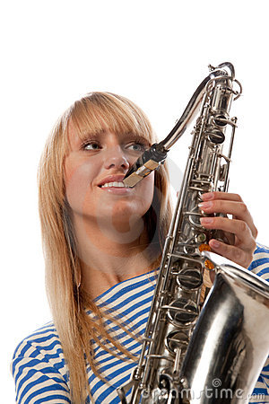 Girl in a stripped vest with a saxophone