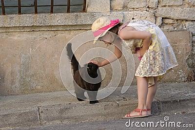 Girl Stroking Cat Stock Photo Image 42365766