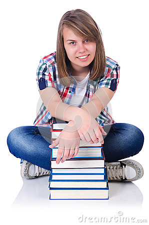 Girl student with books