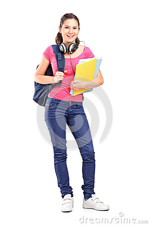 Girl student with headphones