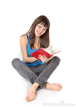 Girl student read the book
