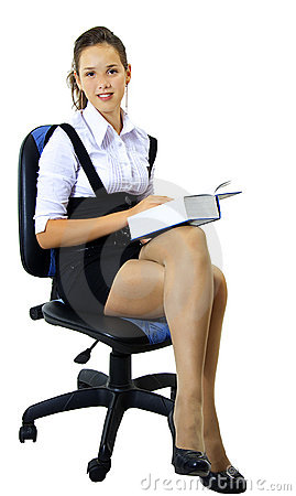 Girl student sits on the chair