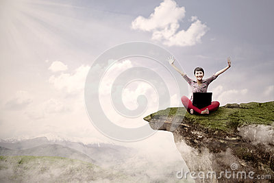 Girl student succeed on high mountain