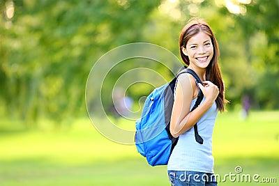 Girl student in summer / spring