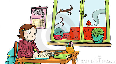 A girl studies in her room