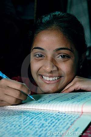 Girl studying Editorial Stock Photo