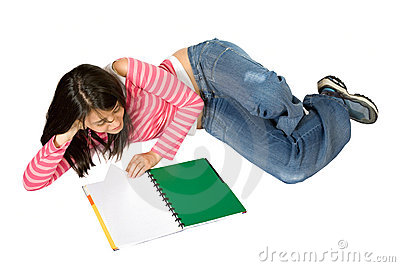 Girl studying on the floor