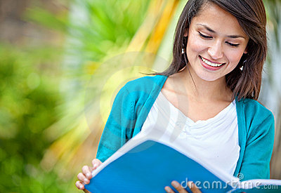 Girl studying outdoor