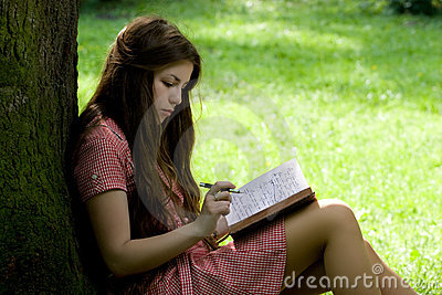 Girl studying in the park