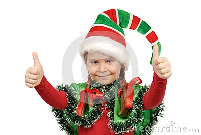 Girl in a suit of elf Santa. Isolated on the white