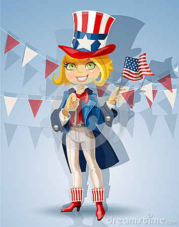 Girl in a suit of Uncle Sam Celebrates 4th July