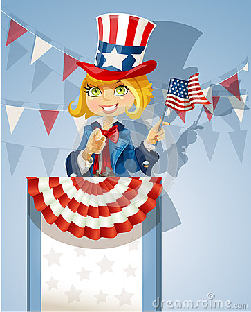Girl in a suit of Uncle Sam stands on the podium