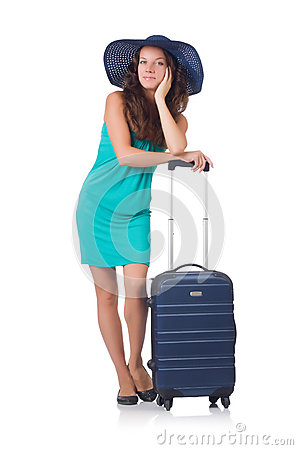 Girl with suitcases