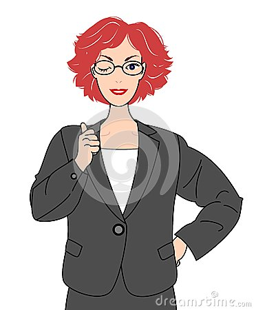 Girl in suits thumbing up