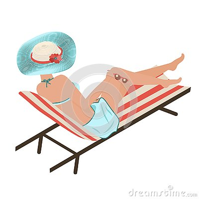 Girl in summer on the beach sunbathes. A woman lies in a striped shelong in a fashionable striped hat. Turquoise Panama Vector Illustration