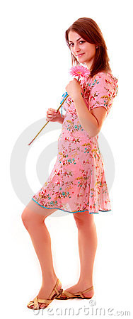 Girl with summer dress and flower isolatedon white