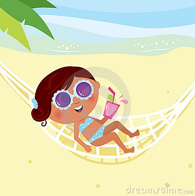 Girl with summer drink lying in a hammock