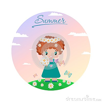 Girl on a summer lawn, with red curly hair, in a wreath of daisies Vector Illustration