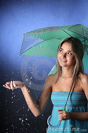 Girl in the summer rain