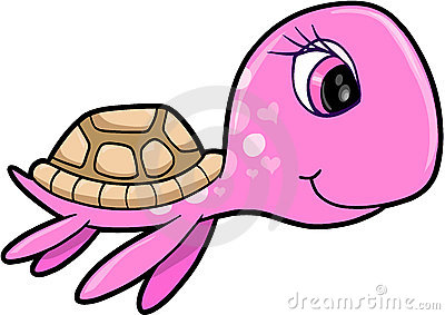 Girl Summer Sea Turtle Animal Vector