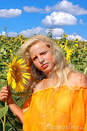 The girl and sunflowers