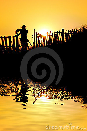 Girl at the sunset