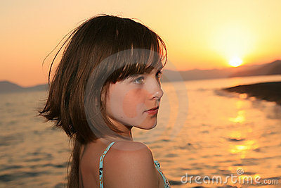 Girl at sunset light