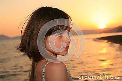 Girl at sunset light