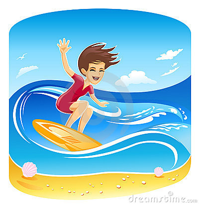 Girl Surfer Vector