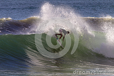 Girl Surfer Wave Carve  Editorial Stock Image
