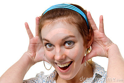 Girl in surprise on face