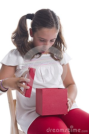Girl surprised with a gift box