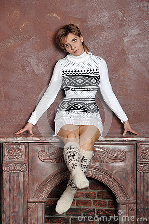 Girl in a sweater and socks