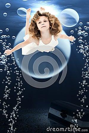 Girl Swiming Ocean